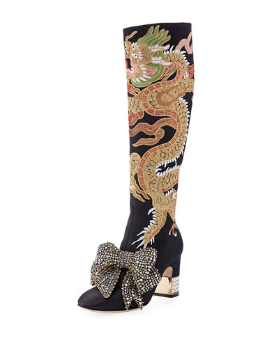 CANDY DRAGON EMBROIDERED BLOCK-HEEL KNEE BOOT