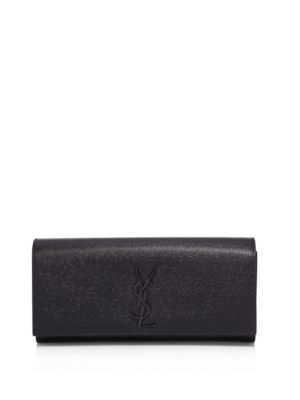 SAINT LAURENT Kate Monogram Leather Clutch in Black