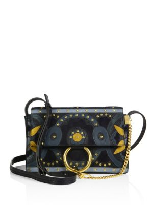 Small Faye Flower Studded Leather & Suede Shoulder Bag