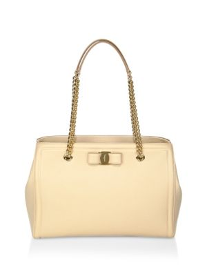 MELIKE GRAINED LEATHER BOW TOTE - BEIGE