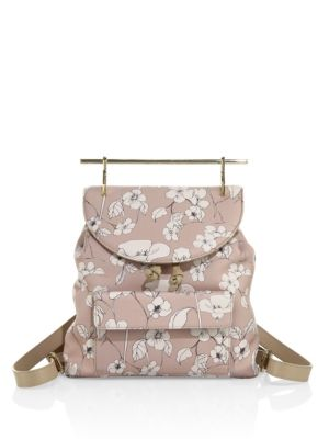 M2MALLETIER Flower-Print Leather Mini Backpack in Sand