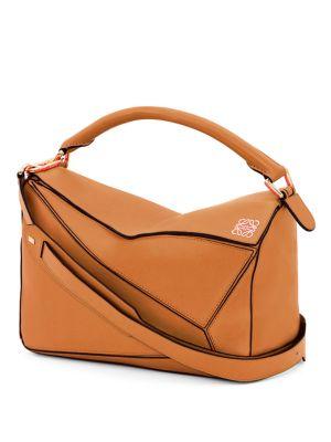 LOEWE Puzzle Medium Leather Shoulder Bag in Tan