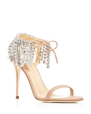 Giuseppe Zanotti Crystals Mistico Swarovski Crystal Ankle Tie High Heel Sandals
