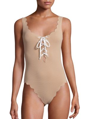 Marysia One-pieces Palm Springs One-Piece Textured Lace-Up Maillot