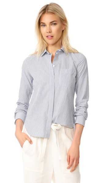 Vince Cottons MIXED STRIPE FITTED SHIRT