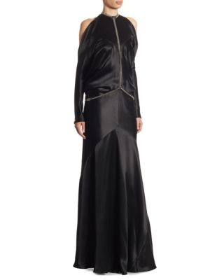 Fishbone-Chain Backless Silk Gown