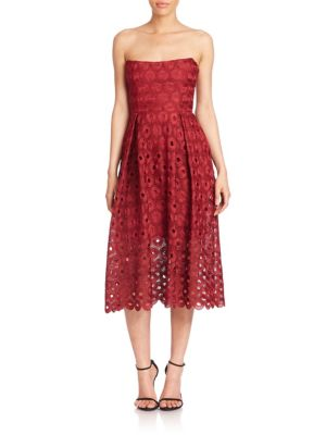 EYELET LACE STRAPLESS DRESS
