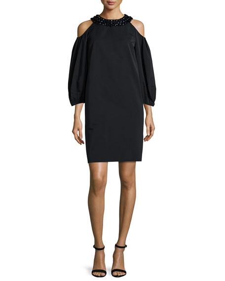 Escada Downs COLD-SHOULDER EMBELLISHED-NECK DRESS, BLACK