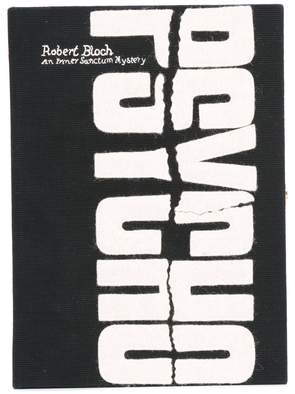 OLYMPIA LE-TAN Psycho Appliquéd Cotton-Faille Clutch in Black