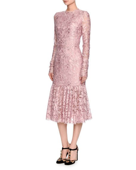 Dolce & Gabbana Silks LONG-SLEEVE LACE FLOUNCE-HEM DRESS, LIGHT PINK, ROSE PINK & BLACK