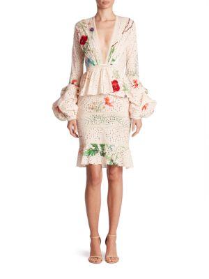 Johanna Ortiz Cottons Vittoria Bell Sleeve Eyelet Dress