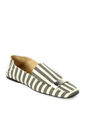 LOAFERS IN BLACK AND WHITE WOVEN CANVAS WITH METAL PLATE