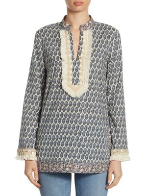 Tory Burch Cottons Cotton Fringed Tunic