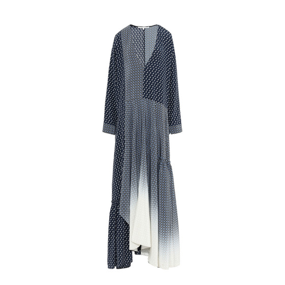 WOMAN DOMINIQUE PANELED PRINTED SILK CREPE DE CHINE MAXI DRESS NAVY