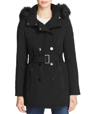BELTED FAUX FUR-TRIM HOODED TRENCH COAT