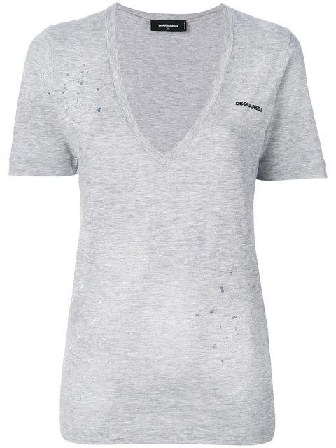 Grey Logo Renny V-Neck T-Shirt