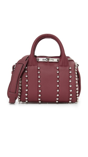 MINI ROCKIE RED LEATHER BOWLER BAG WITH STUDS