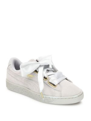 White Basket Heart Patent Leather  Sneakers