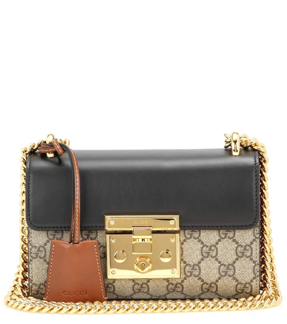 Padlock GG Supreme leather and coated canvas shoulder bag