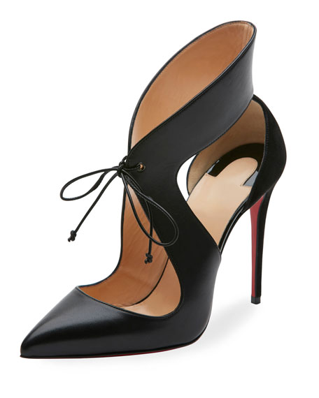 Christian Louboutin Leathers FERME ROUGE SELF-TIE RED SOLE PUMP, BLACK