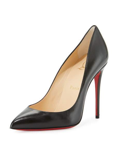 CHRISTIAN LOUBOUTIN Pigalle Follies Leather 100Mm Red Sole Pump, Black