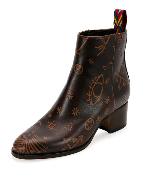 Valentino Leathers Santeria Embossed Leather Bootie, Light Brown