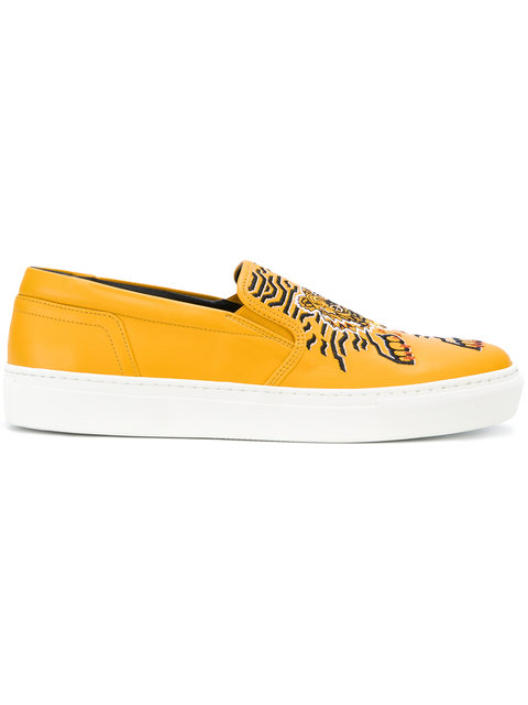 20MM GEO TIGER LEATHER SLIP-ON SNEAKERS, YELLOW