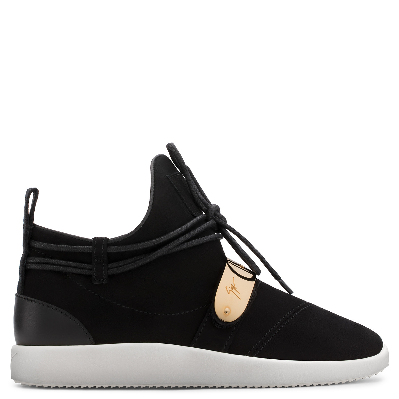 - BLACK SUEDE SNEAKER WITH METAL ACCESSORY HAYDEN