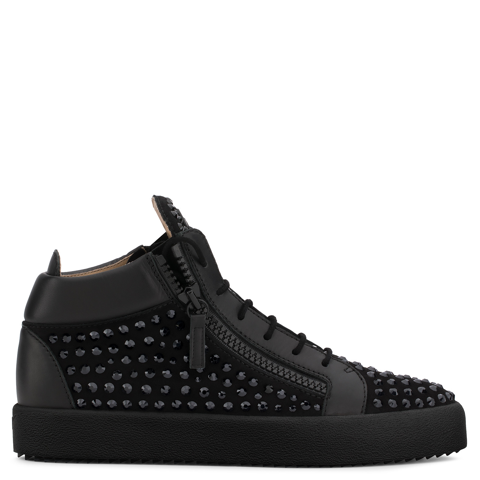 Cheap Price In China Giuseppe Zanotti Black suede low-top sneaker with crystals DORIS LOW Cheap Sale Pre Order I2NwyC
