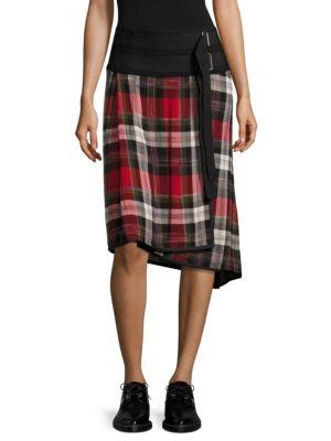'Ilha' asymmetric belted plaid wrap skirt