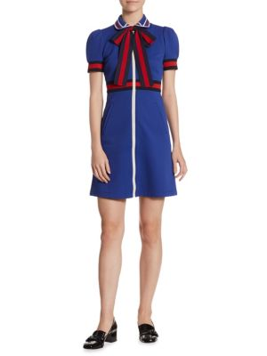 Sylvie Web Bow-Detail Zip-Front Jersey Dress