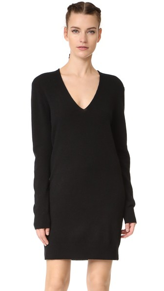 EQUIPMENT Rosemary V-Neck Cashmere Sweater Dress in Black | ModeSens