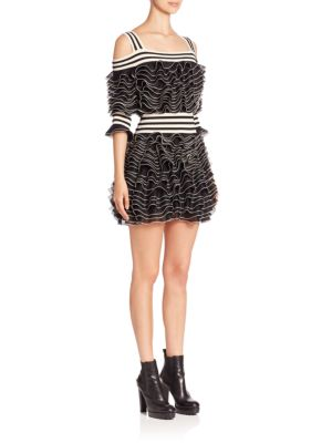 Alexander Mcqueen Knits Cold-Shoulder Tiered Ruffle Dress