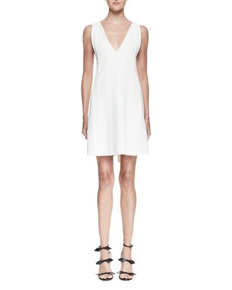 Chloé Silks SLEEVELESS TIE-BACK MINI DRESS, WHITE, 00A MILK