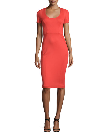 Zac Posen Linings SHORT-SLEEVE FITTED SHEATH DRESS, CORAL