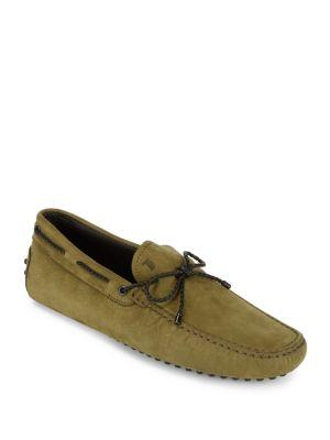 TOD'S Suede Tie Moccasins in Green