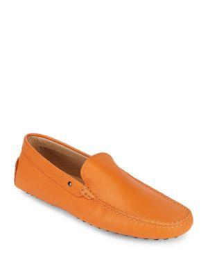 TOD'S Solid Leather Moccasins in Orange