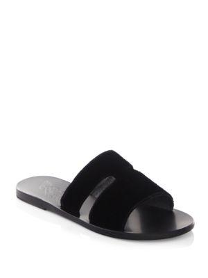 Ancient Greek Sandals Apteros Velvet Slides In Black