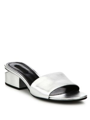 Alexander Wang Leathers Lou Tilt-Heel Metallic Leather Slides