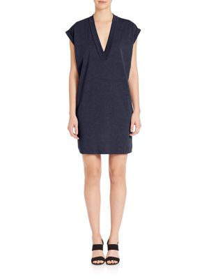 EXTENDED SHOULDER V NECK DRESS IN BLUE.