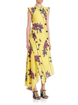 Proenza Schouler Silks Cap Sleeve Floral Dress