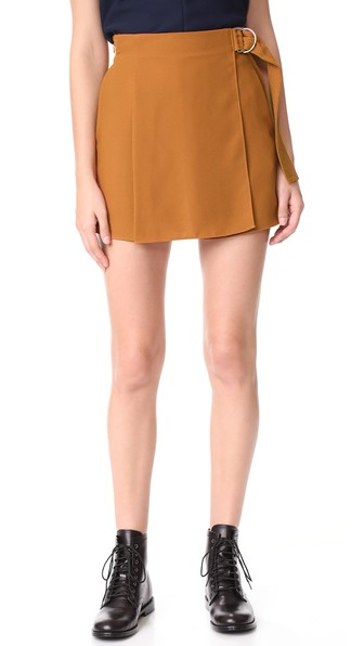 CARVEN Draped Shorts in Ocre
