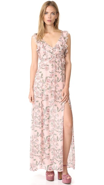 FOR LOVE & LEMONS Bee Balm Floral Maxi Dress In Pink. in Pink Floral