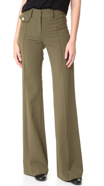 VERONICA BEARD Groove High Waisted Pants in Army Green