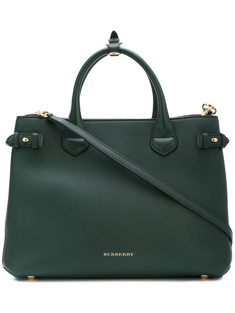'MEDIUM BANNER' HOUSE CHECK LEATHER TOTE - GREEN