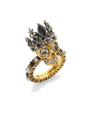 Queen skull crystal and pearl-embellished ring