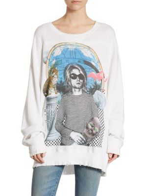 KURT DISTRESSED PRINTED COTTON-TERRY SWEATSHIRT