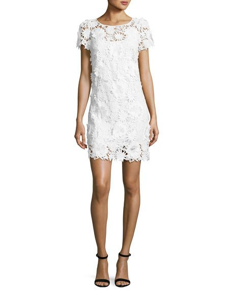 CHLOE SHORT-SLEEVE 3D FLORAL-EMBROIDERED LACE DRESS, WHITE