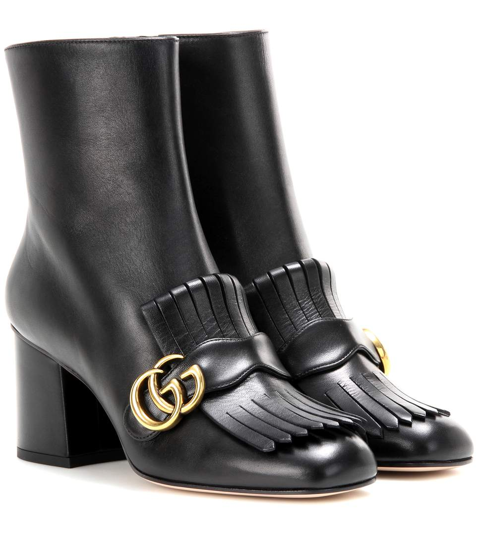 ddf19c3a3038 Gucci Marmont Fringed Logo-Embellished Leather Ankle Boots In Black ...
