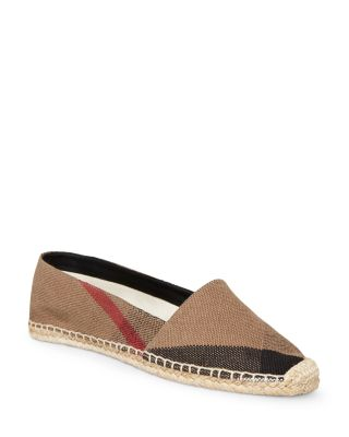 Burberry Leathers WOMEN'S HODGESON HOUSE CHECK ESPADRILLE FLATS